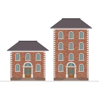 白い背景で隔離の家の建物のイラスト