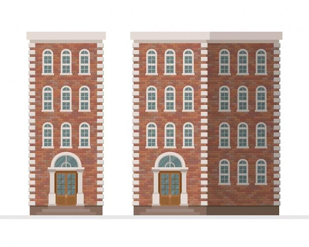 白い背景で隔離のれんが造りのタウンハウスアパートイラスト