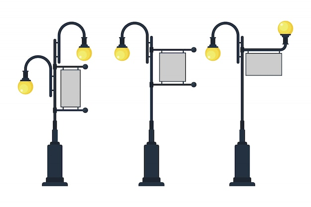 イラストを広告するための看板とビンテージ街路灯