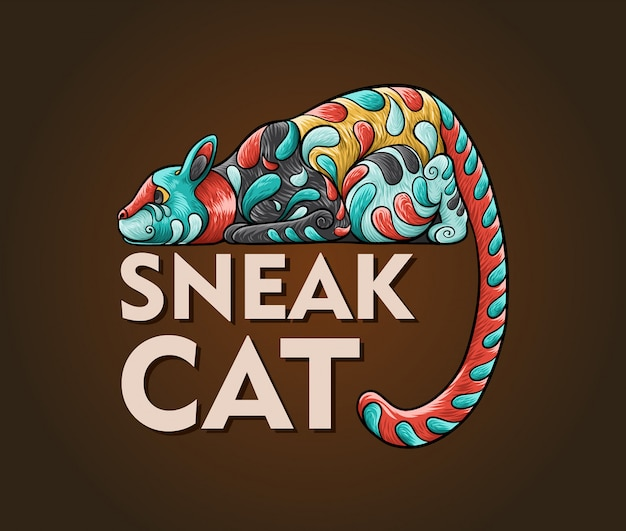 忍び寄る猫の抽象的なイラスト