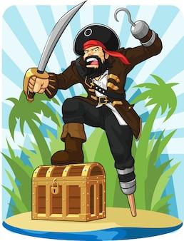 Пират с его сундуком с сокровищами