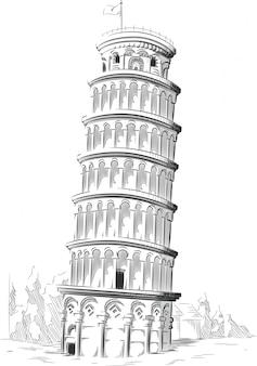 イタリアのランドマークのスケッチ-ピサの斜塔