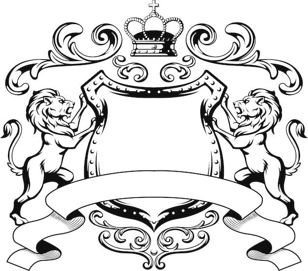 Силуэт геральдического щита льва