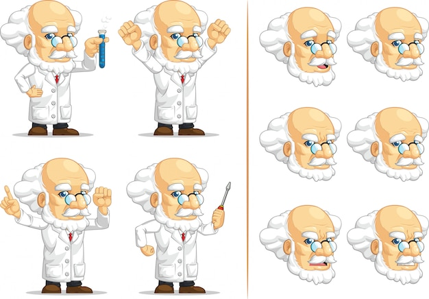 科学者または教授のカスタマイズ可能なマスコット