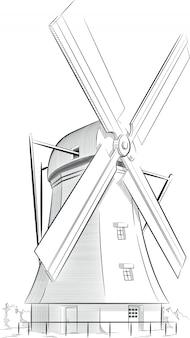 オランダのランドマークのスケッチ-風車