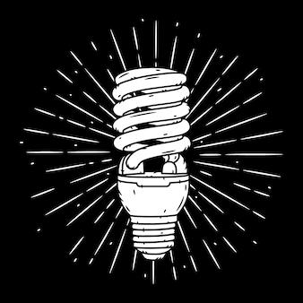 Энергосберегающая лампа. рисованная иллюстрация