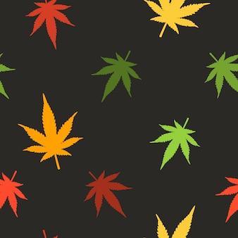マリファナの葉のシームレスなパターン。大麻のシームレスなパターン。マリファナの葉のパターン。