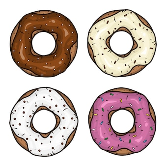 Пончик с розовой глазурью. пончик с шоколадной глазурью. пончики установлены.
