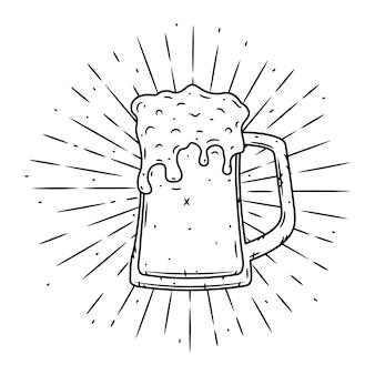 Векторные иллюстрации с бокалом пива и расходящихся лучей.