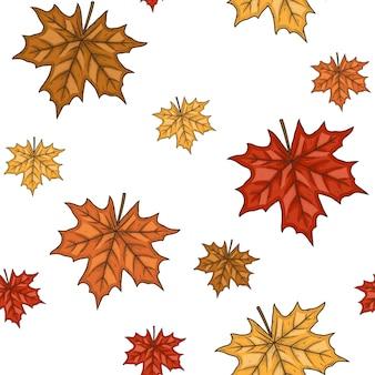 Бесшовный фон с осенними кленовыми листьями. иллюстрации.