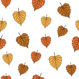 Бесшовный фон с осенними листьями березы. иллюстрации.