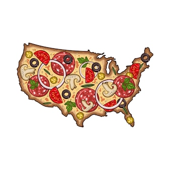 Мультфильм пицца. карта сша в виде пиццы. пицца в виде карты сша.
