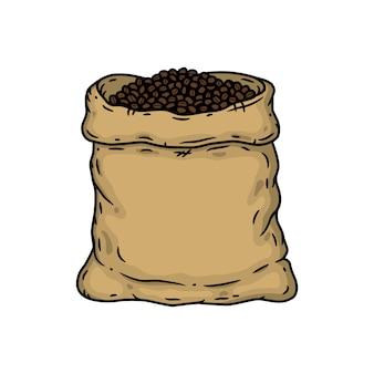 Мешок с кофе в зернах. изолированных иллюстрация