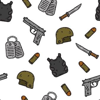 Военный бесшовные модели. образец оружия. иллюстрация.