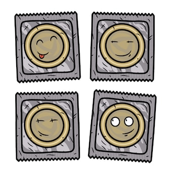 Набор презервативов. мультяшный презерватив установлен.