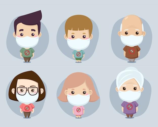 コロナに対してマスクを身に着けている家族のキャラクターのセット