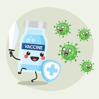 コロナウイルスのデザインとかわいい幸せなワクチン瓶の戦い