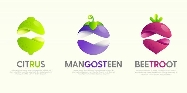 Набор современных отличных логотипов с декоративными фруктами