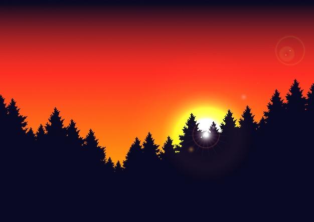 シルエットの山の風景と光線で装飾的な夏の劇的な夕日の背景