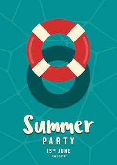 スイミングプールに浮かぶ水泳リング夏パーティーポスター