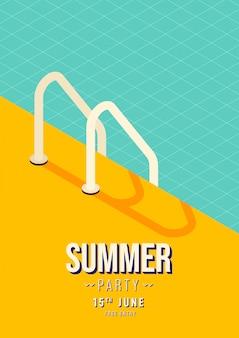 スイミングプール階段夏パーティーポスター