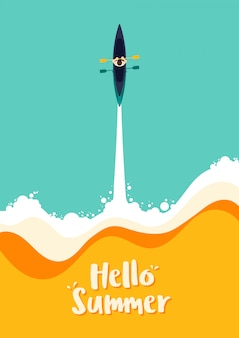 カヤックの漕ぎ手、海の夏の挨拶