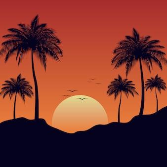 夏の風景の背景の夕日