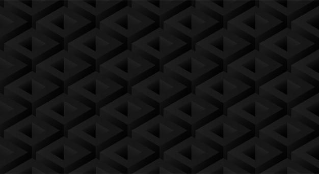 等尺性の幾何学的形状で装飾的な抽象的な最小限の黒いシームレスパターン背景