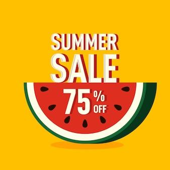 スイカと夏の雰囲気のコンセプトで装飾的な販売促進バナー特別オファーと割引テンプレート
