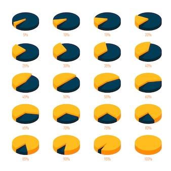 番号付きのモダンなパーセンテージ円グラフのセット