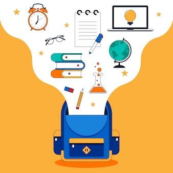 さまざまな学校の文房具のフラットデザインで学校のコンセプトに戻る