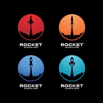Набор логотипа с запуском ракеты