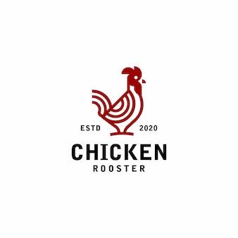 Петух логотип моно линии винтаж