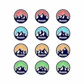 山と空のロゴのセット