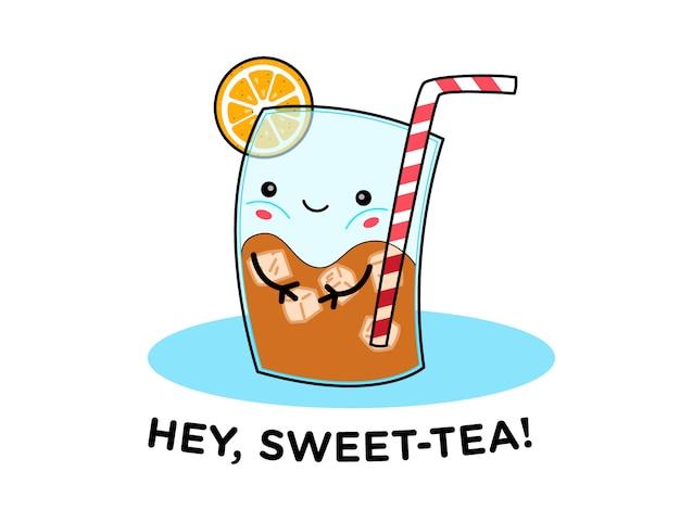 Милый лимонный ледяной чай пан