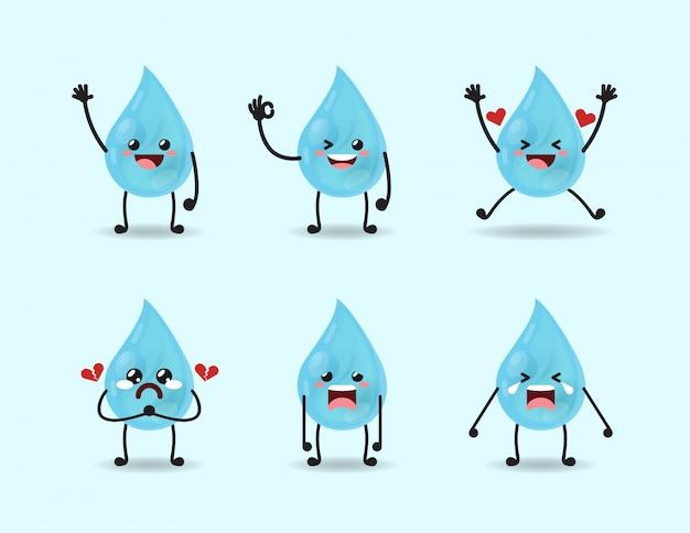 かわいい水表現デザインのセット