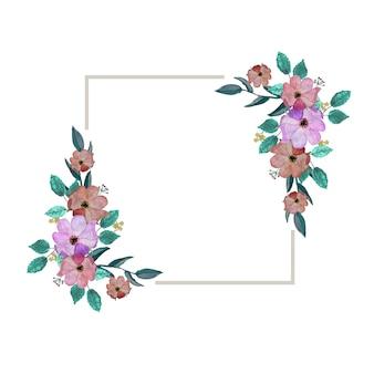 水彩画の花の花のイラストの葉との植物組成