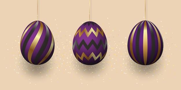 幾何学的なパターン、抽象的な黒紫飾りと黄金の卵。明るい背景に現実的な卵のセット。