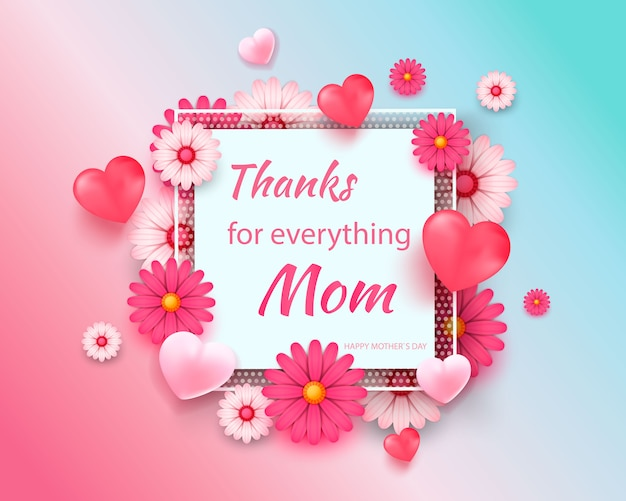 Поздравительная открытка дня матери с квадратной рамкой и срезанные цветы на фоне красочных современных геометрических.