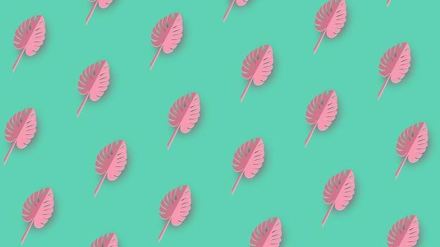 熱帯紙ヤシ、モンステラの葉フレーム。夏の熱帯の葉。折り紙エキゾチックなハワイアンジャングル、夏の背景。紙のカットスタイル。
