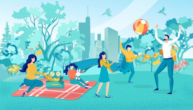 週末に都市公園でピクニックに幸せな家族