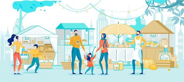 Счастливая семья, делающая покупки в уличном рынке мультфильм