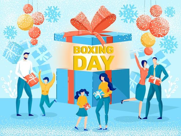 День подарков сезонная распродажа плоский вектор рекламный баннер