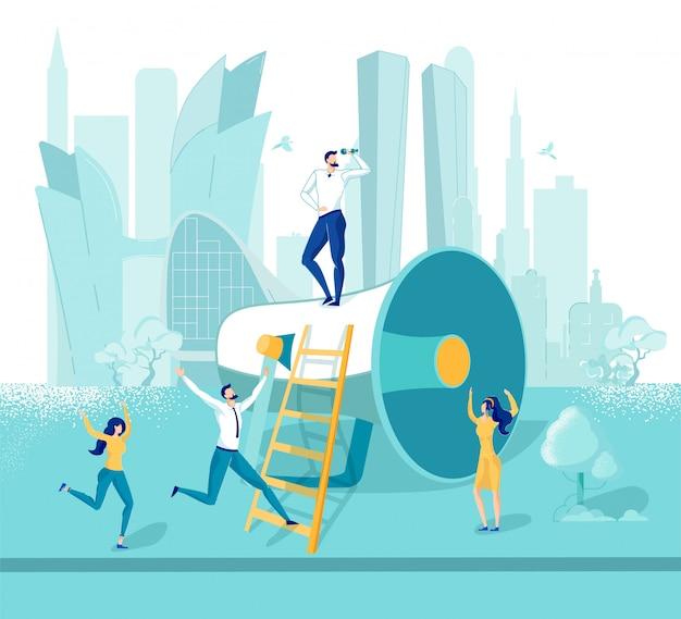 Человек-маркетолог, стоящий на огромной метафоре мегафона