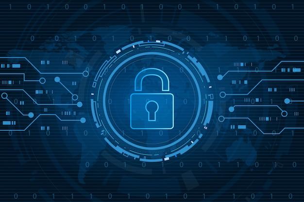 サイバーセキュリティ技術コンセプト、世界地図背景、個人データ、キーホールアイコンとシールド