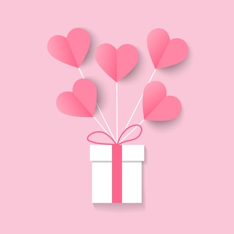 Иллюстрация влюбленности и дня валентинки с воздушным шаром и подарочной коробкой сердца
