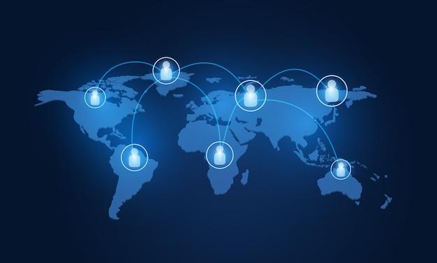 グローバルネットワーク接続マップ。社会的ネットワークの概念。世界地図