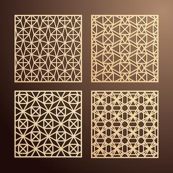 Набор декоративных панелей для лазерной резки. квадратный дизайн экрана с геометрической формой