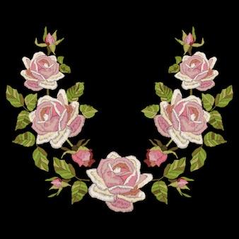 葉とのバラ刺繍。民族の花のネックライン、花のデザイン。サテンステッチの模倣