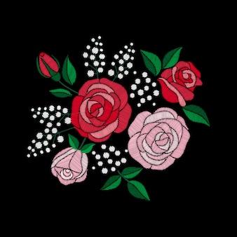Красная роза и белые цветы вышивка на черном фоне. имитация атласной строчки